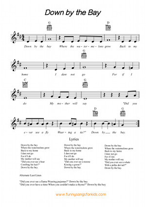 Down by the Bay Free Sheet Music