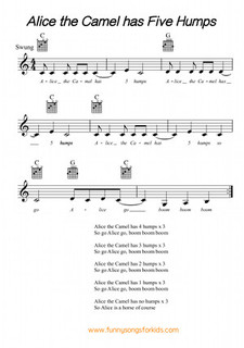 Alice the Camel has 5 Humps Free Sheet Music