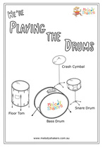Playing the Drums Coloring Page